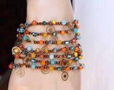 Colorful crochet wrap bracelet necklace anklet The by slashKnots