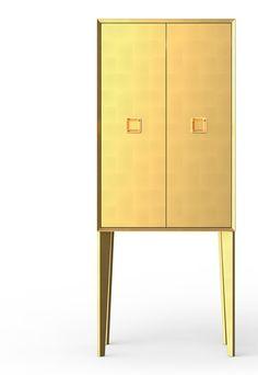burgbad élysée. goldener Kabinettschrank Ankleidezimmer - golden powder room cabinet.