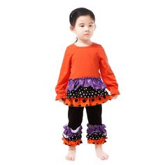 2016 New Halloween Boutique Outfits Kids Ruffle Polka Dots Ruffle Girls Clothes Orange Purple Black Baby Clothes Halloween Baby