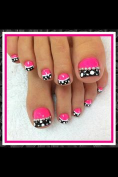 Pedi- hot pink, black w/white polka dot tips and rhinestones. Love it!