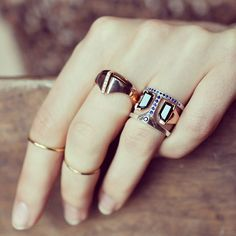 The Bliss Lau Fathom II ring set and rose gold Flame   Nuance ring worn together.