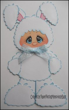 Premade Paper Pieced White Bunny for Scrapbook by PaperPiecingBabs, $6.99