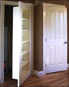 perfect for doors that do not open often--maybe my sump pump room!    Bookshelf becomes door for closet by maude