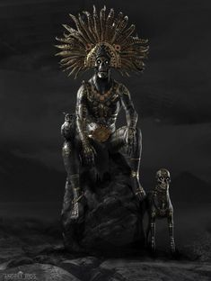 """scifi-fantasy-horror: """"by Andres Rios Notes by Artist: """"Mictlantecuhtli Mictlantecuhtli is the Aztec God of Death, associated with spiders, dogs, and owls. He is the lord of the """"Mictlan"""", the land of the dead. He is often represented with a man with. Dark Fantasy Art, Dark Art, Character Inspiration, Character Art, Aztec Tattoo Designs, Death God, Aztec Culture, Aztec Warrior, Inka"""