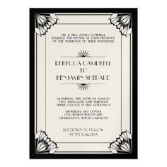 Black gold art deco style wedding seating chart black gold art art deco wedding invitations 6100 art deco wedding invites announcements zazzle uk stopboris Images