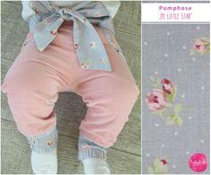 Pumphosen - Pumphose aus Cord in Rosa mit Blumengürtel in Grau - ein Designerstück von lubukidz bei DaWanda
