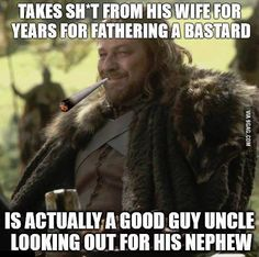 The only real problem I have with GOT. It's stupid Ned could totally tell Catlynn the truth. Don't tell me he swore to himself not to tell anyone bs as loyal as she is she wouldn't tell a soul. That would have saved a lot of anxiety and tension for both of them. She would have treated Jon so much better too if she new the truth.