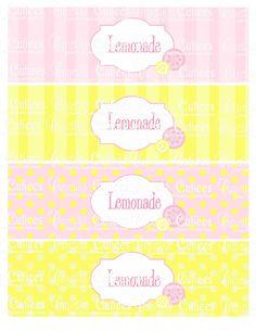 Pink Lemonade  Digital  Water Bottle Labels Lemonade and Blank PRINTABLE