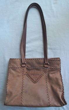AUTHENTIC PRADA LIGHT BROWN LEATHER WHIPSTITCHED TOTE BAG (RICH HIPPIE!) ~ #PRADA #TOTE