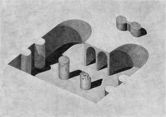 Pia-Mélissa Laroche, Inspired by architecture, the drawings are based on simple geometric shapes. Architecture Concept Drawings, Space Architecture, Architectural Drawings, Graphite Drawings, Negative Space, Art Sketchbook, Design Reference, Geometric Shapes, Home Art