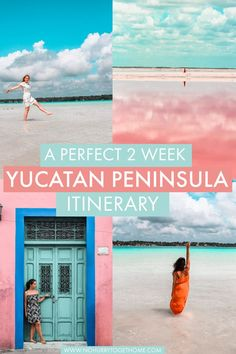 A Perfect Yucatan Peninsula 2 Week Itinerary: Beach, Culture, and Colors! - The ultimate 2 week Yucatan Peninsula itinerary, with some of the most incredible destinations to v - Cancun Mexico, Mexico Vacation, Mexico Travel, Mexico City, Amazing Destinations, Travel Destinations, Travel Deals, Pink Lake, Pink Beach