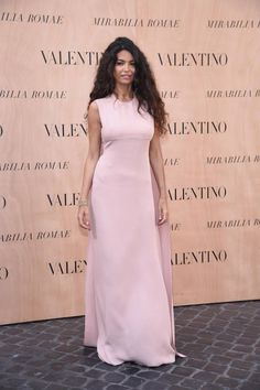 Afef Tronchetti Provera in a Valentino gown from the Spring Summer 2015 collection to the Mirabilia Romae Haute Couture show, on July 9th 2015.