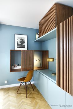 For an apartment renovation in Paris, Hopfab craftsmen realized . Bureau Design, Workspace Design, Office Interior Design, Home Office Decor, Office Interiors, Home Decor, Hotel Room Design, Kids Room Design, Home Theaters