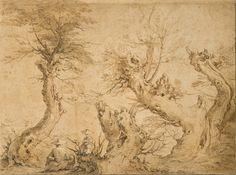 Paysage aux quatre arbres et deux femmes  Abraham Bloemaert 1566-1651  Collection Adrien