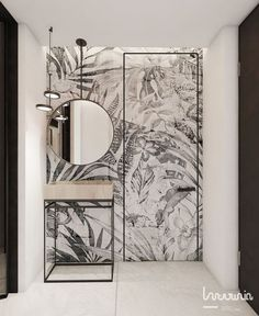 Tropical wallpaper used in a bathroom again. Loving the monochrome look this tim. - Tropical wallpaper used in a bathroom again. Loving the monochrome look this time! Bathroom Spa, Modern Bathroom, Bathroom Marble, Spa Tub, Wall Paper Bathroom, Tropical Bathroom Decor, White Bathrooms, Bathroom Black, Luxury Bathrooms