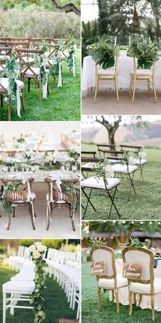 Wedding Ceremony Chair Decorations with Greenery