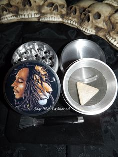 Bob Marley Lion Rasta 4 Piece Herb Grinder Pollen Screen and Catcher Punk, Emo, Rock, Rockabilly, Horror, Wicca and much more can be found in my lil' creations! Art For Life accessories are created with lots of love and inspiration! I strive to provide the highest quality products! Our images ar...