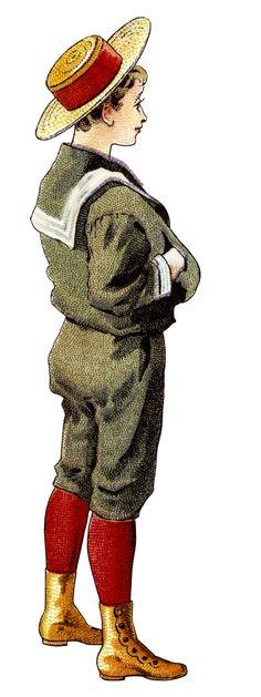 Victorian boy clip art, vintage baseball bat illustration, antique school reader graphics, printable child image: