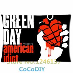 Bedding Pillow Cover Green Day Punk Rock Band Poster Design Comfort Cushion Rectangle Soft Custom Pillowcase Two sides Gift
