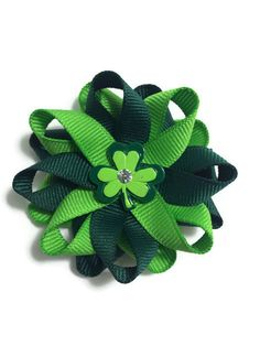 """New to CupcakesClipShop on Etsy: Green Shamrock Clover St. Patrick's Day 2.5"""" Hair Bow Set - Handmade - No Slip Clip or Barrette (5.00 USD)"""