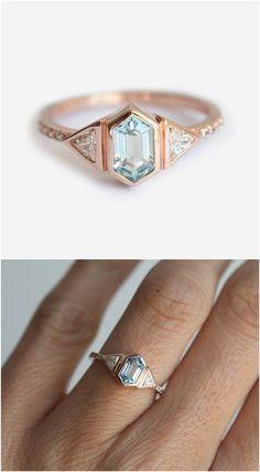 Bezel set blue hexagonal ring