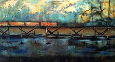 The Ride Home from Baton Rouge  2012  mixed media on canvas  32 x 59 inches  $3000