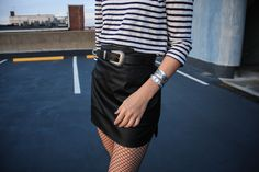 www.streetstylecity.blogspot.com Fashion inspired by the people in the street ootd look outfit sexy legs heels leather skirt miniskirt fishnets-styled-grunge-fashion