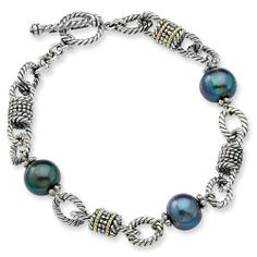 Sterling Silver with 14k Yellow Gold 9-9.5m Freshwater Cultured Black Pearl 7.5in Bracelet Jewelry Pot. $138.99. 30 Day Money Back Guarantee. Your item will be shipped the same or next weekday!. Fabulous Promotions and Discounts!. 100% Satisfaction Guarantee. Questions? Call 866-923-4446. All Genuine Diamonds, Gemstones, Materials, and Precious Metals. Save 46% Off!