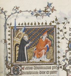 st Dominique retenant l'Eglise, 1265, Breviarium ad usum fratrum Predicatorum, vol. II (partie été), BNF Latin 10484, fol. 272,