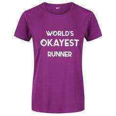 "Purple ""World's Okayest Runner"" Technical T-Shirt Slogan Tops, Fabric Tape, Collar And Cuff, Sleeve Designs, Runners, Cuffs, Crew Neck, Training, Park"