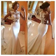 Mermaid tail and lace seethrough gown