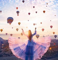 Kristina Makeeva combines travel photography and editorial fashion photography to highlight dresses that encapsulate the landscape. Air Balloon, Balloons, Art Photography, Travel Photography, Fashion Photography, Photography Training, Pinterest Photography, Beautiful Places, Beautiful Pictures