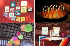 Mexican banner, paper lanterns, calendar guest book and a Reese's Pieces cake!  All at a Cinco de Mayo themed wedding and birthday celebration.  AnnaBelle Events