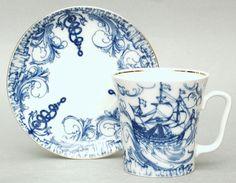 Blue Ship Mug and Saucer   Lomonosov Russia - Factory Direct from Russia