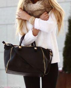 winter, white sweater, large black bag, fur scarf