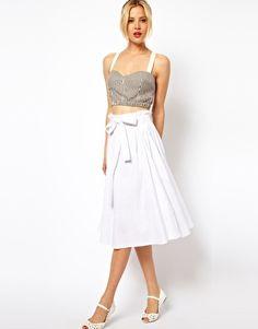Image 1 ofASOS Linen Midi Skirt with Belt $33