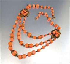 Art Deco Necklace Czech Glass Festoon Coral Gold Gilt Vintage 1920s Art Deco Jewelry