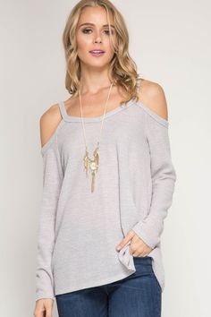 """Absoutely adorable!!!! This cold shoulder pullover is the perfect """"go to"""" top. It's a beautiful Heather Gray an ever so stylish and comfy!!!! 