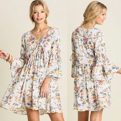 TAYLOR floral v neck dress - OFF WHITE Floral peasant dress with cute open slit sleeve design. What a fun pop of color! NO TRADE, PRICE FIRM Bellanblue Dresses