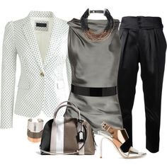 A fashion look from May 2014 featuring Donna Karan blouses, J.Crew blazers and Yves Saint Laurent pants. Browse and shop related looks.