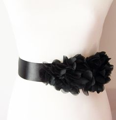 Bridal Black Chiffon Flower Sash Posh Ribbon Belt - Vintage Inspired Wedding Dress Sashes, Night Dress Belts - Ready To Ship. $42.00, via Etsy.