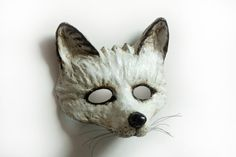 Arctic Fox Mask Made To Order Snow Fox White Fox Vintage Animal Mask Fancy Dress…