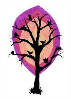 Birds' Tree - 5 X 7 inch Cut Paper Art Print