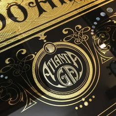 Close up detail of this gilded glass sign for a Tattooist in Atlanta  US @jeffrey_harp  #tattoo  #tattoartist  #tattoos #typography b#atlanta  #design  #graphics  #goldart  #gilding  #signwriting  #signwriter by davesmithartist