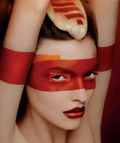 Bold colourful makeup - red orange beauty