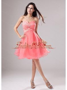 Sweetheart A-Line Organza Beading Mini-length Prom Dress Watermelon- $118.49