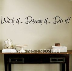 "[funlife]-Wish it Dream it Do it Wall Decal Sticker Vinyl Art Quote 4""h X 30""w (10x76cm) $6.99"