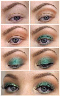Green & Gold makeup tutorial - festive for the holiday season! - Green & Gold makeup tutorial - festive for the holiday season! Day Eye Makeup, Pretty Eye Makeup, Glitter Eye Makeup, Colorful Eye Makeup, Simple Eye Makeup, Gold Makeup, Makeup For Green Eyes, Makeup Art, Sexy Makeup