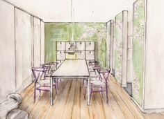 Entwurf für den Essbereich eines Hauses
