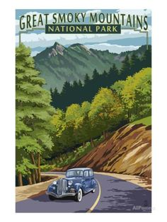 Chimney Tops and Road - Great Smoky Mountains National Park, TN Print by Lantern Press at AllPosters.com